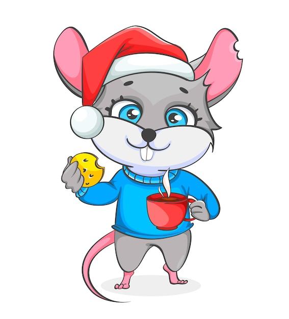 Rat in kerstmuts houdt koekje en een kopje koffie Premium Vector