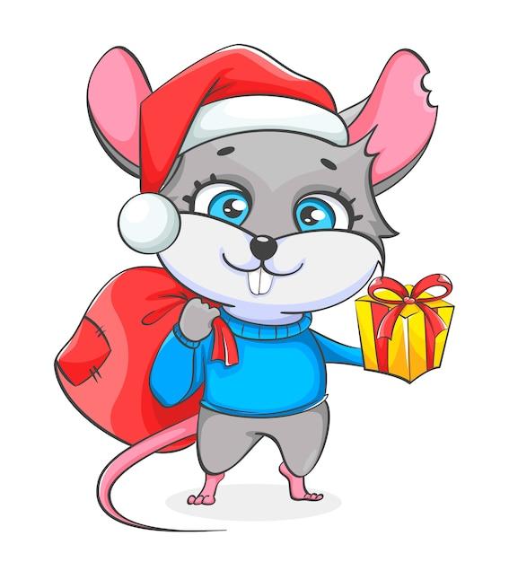 Rat in kerstmuts zak houden met presenteert Premium Vector
