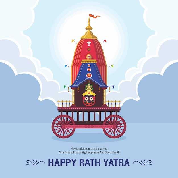 Ratha yatra festival viering voor lord jagannath, balabhadra en subhadra. lord jagannath puri odisha god rathyatra festival. Premium Vector