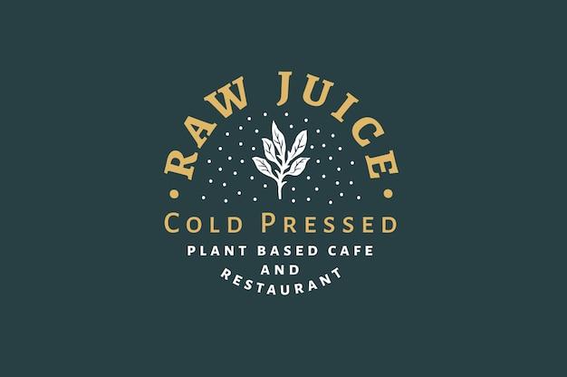 Raw juice - koudgeperst logo en labelsjabloon Premium Vector