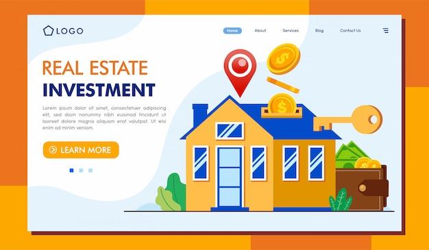 Real estate investment landing page lllustration template Premium Vector