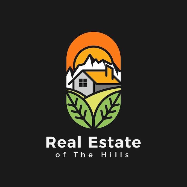 Real estate of the hills-logo Premium Vector