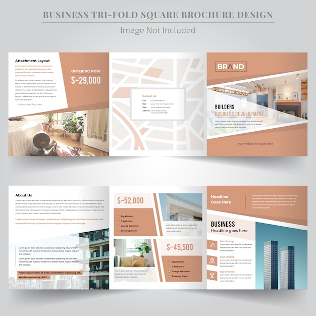 Real estate square driebladige brochure Premium Vector
