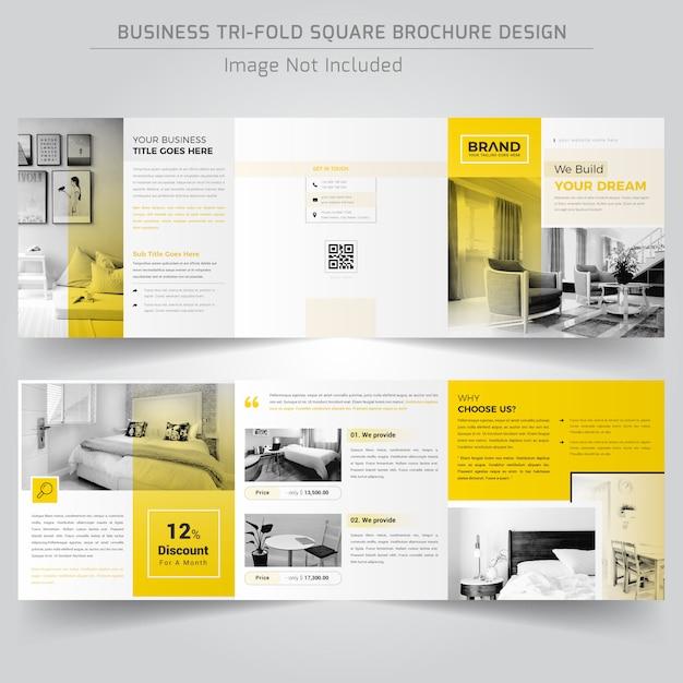 Real estate square driebladige brochure Premium Vector