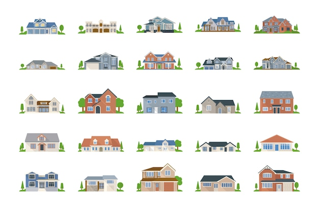 Real estate vectors pack Premium Vector
