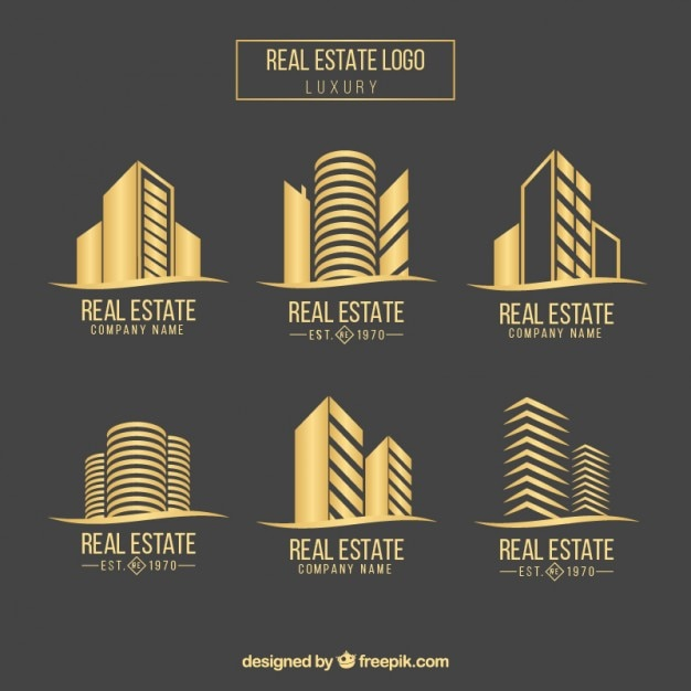 Real state logo collectie Premium Vector