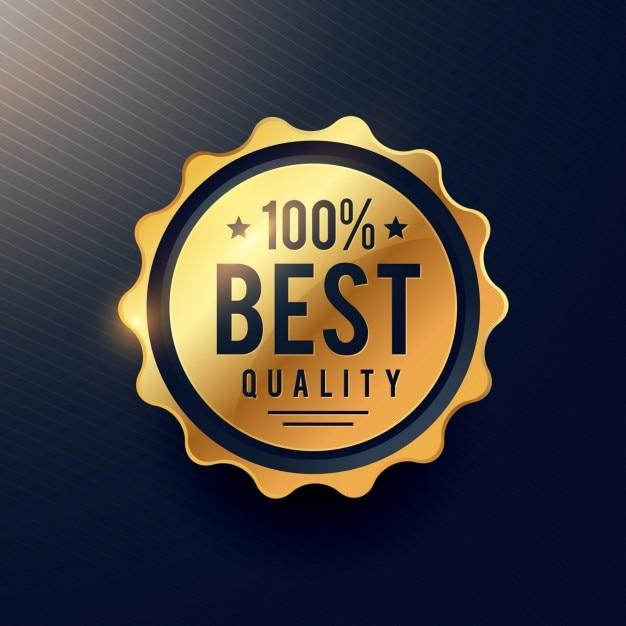 Realisitc beste kwaliteit luxe gouden label voor uw merk reclame Gratis Vector