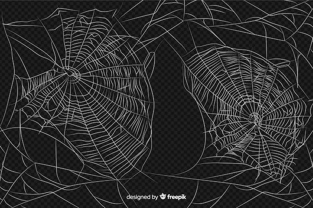 Realistisch abstract ontwerp van spinneweb Gratis Vector