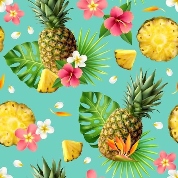 Realistisch ananas naadloos patroon Gratis Vector