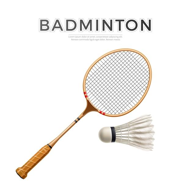 Realistisch badmintonracket met shuttle Premium Vector