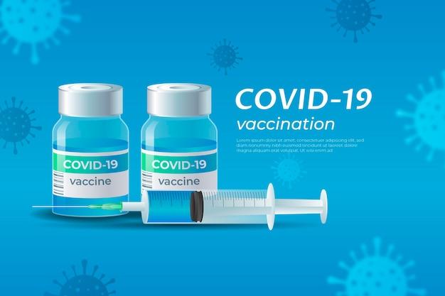 Realistisch behang van het coronavirusvaccin Gratis Vector