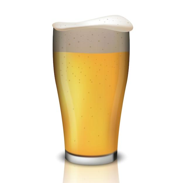 Realistisch bier in glas Premium Vector