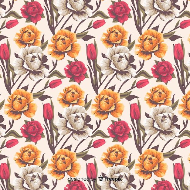 Realistisch bloemen decoratief patroon met rozen Gratis Vector