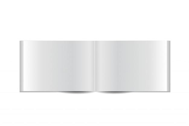 Realistisch boekje op de witte achtergrond. realistische papieren mock-up sjabloon voor bedekking, branding, bedrijfsidentiteit en reclame. Premium Vector