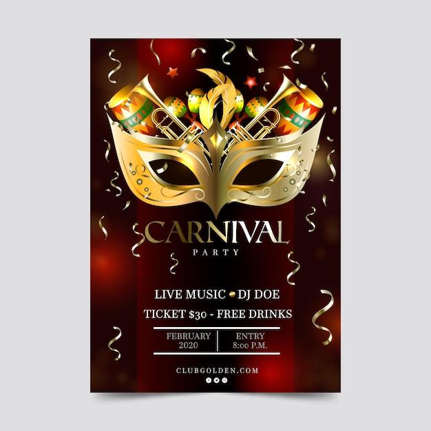 Realistisch carnaval feest flyer en posterontwerp Gratis Vector