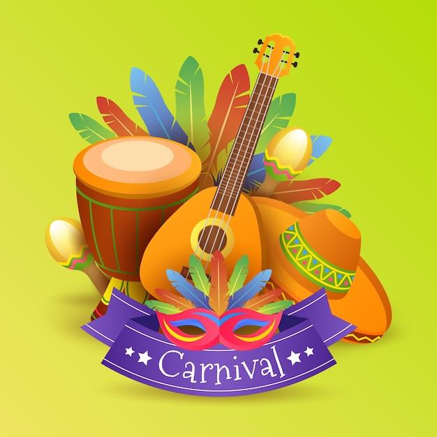 Realistisch carnaval feestelijk thema Gratis Vector