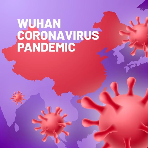 Realistisch coronavirus met kaart Gratis Vector