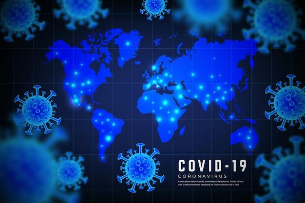 Realistisch coronavirus met kaartconcept Gratis Vector