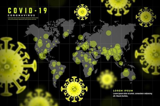 Realistisch coronavirus met kaartthema Gratis Vector