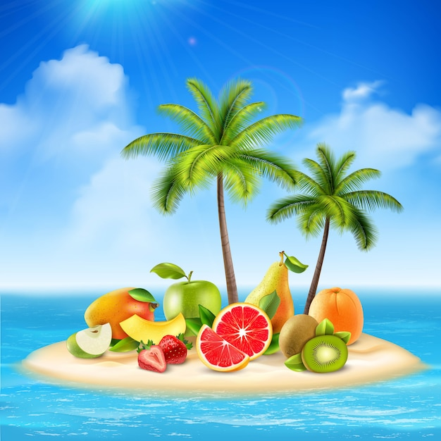 Realistisch eiland vol fruit Gratis Vector
