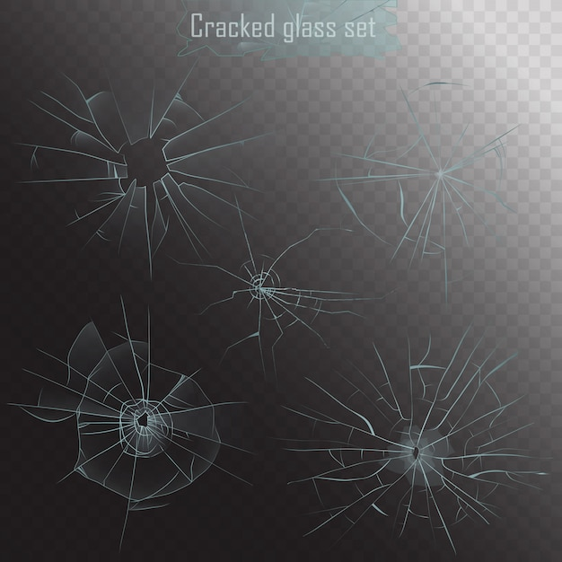 Realistisch gebroken glas scheuren ingesteld Premium Vector