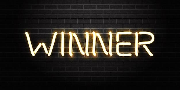 Realistisch geïsoleerd neonteken van winner-logo voor sjabloondecoratie en bekleding Premium Vector