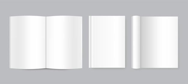 Realistisch gesloten en open boek, tijdschrift of notebook, voor- en zijkant van boek. Premium Vector