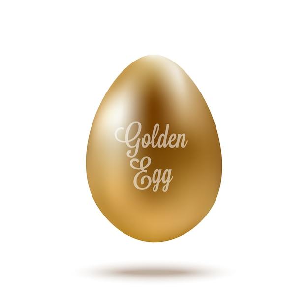 Realistisch gouden ei met tekst. vector illustratie Premium Vector