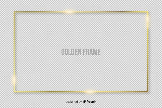 Realistisch gouden rechthoekkader Gratis Vector