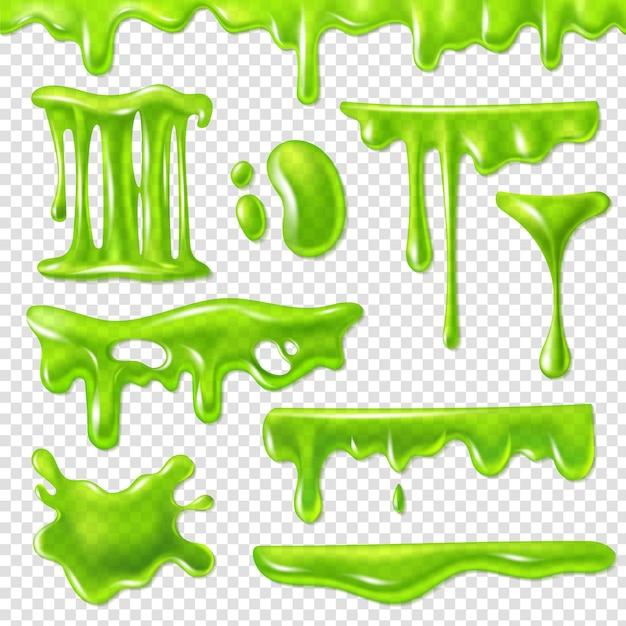 Realistisch groen slijm. slijmerige giftige vlekken, klodderspatten en slijmvlekken. halloween vloeibare decoratie randen druppel snot siroop set Premium Vector