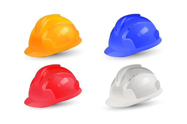 Realistisch helm vector collectieontwerp. set veiligheidshoeden met meerdere kleuren. Premium Vector