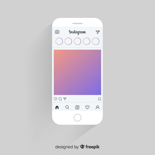 Realistisch instagram fotokader op iphone-sjabloon Gratis Vector