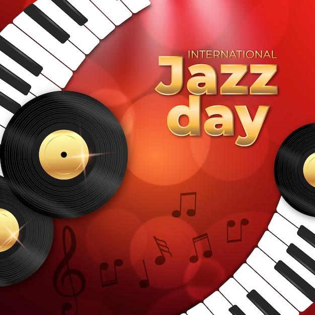 Realistisch internationaal jazzdagconcept Gratis Vector
