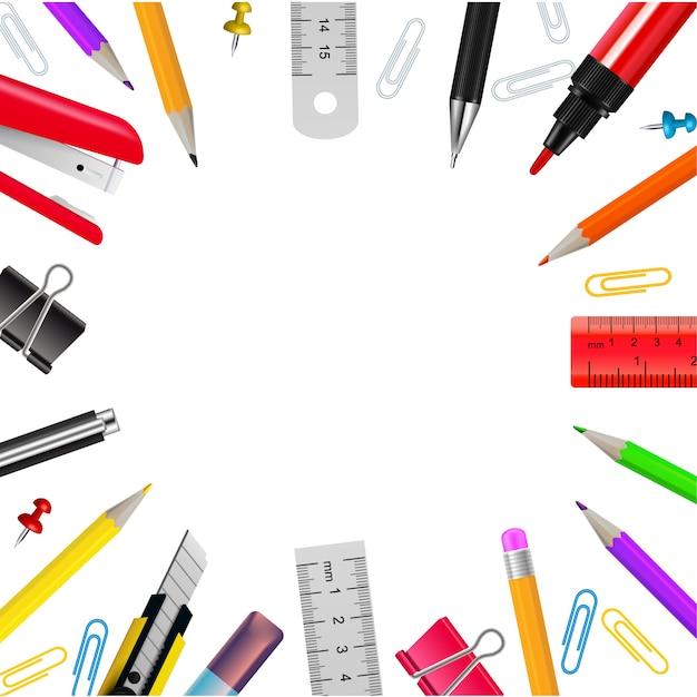 Realistisch kader met diverse kantoorbehoeftenvoorwerpen op witte vectorillustratie als achtergrond Gratis Vector