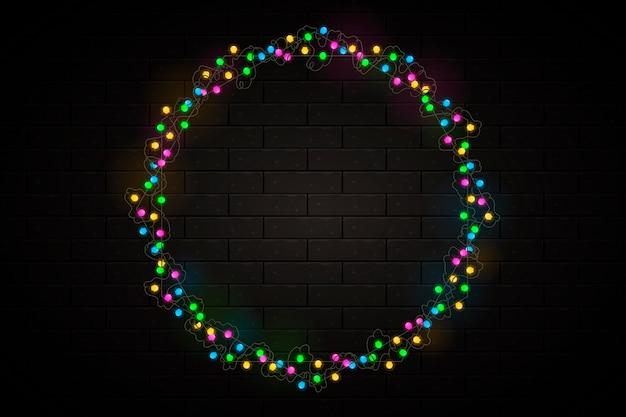 Realistisch kerstlichtframe Gratis Vector