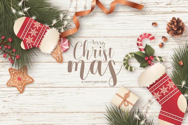 Realistisch kerstmiskader met seizoengebonden bericht Gratis Vector