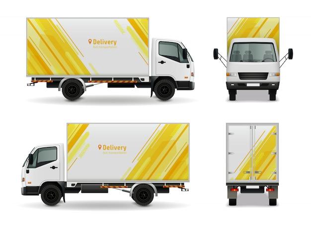 Realistisch ladingsvoertuig reclamemodelontwerp in geel wit kleuren zijaanzicht, voor en achter vectorillustratie Premium Vector