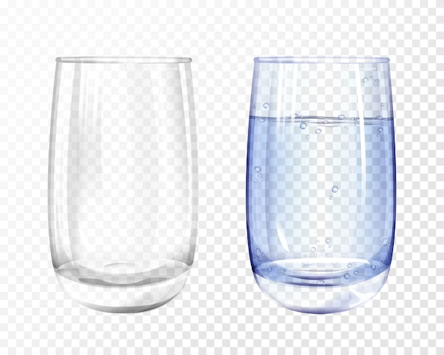 Realistisch leeg glas en kop met blauw water op transparante achtergrond. Gratis Vector
