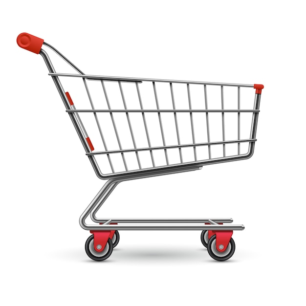 Realistisch leeg supermarktboodschappenwagentje dat op wit wordt geïsoleerd Premium Vector