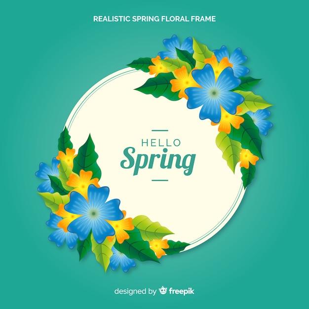 Realistisch lente bloemenframe Gratis Vector