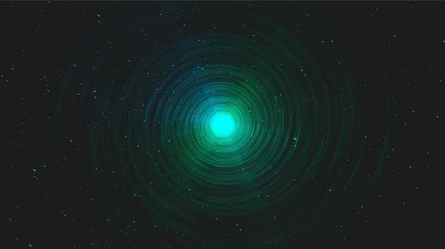 Realistisch magisch groen spiraalvormig zwart gat op melkwegachtergrond. planeet en fysica conceptontwerp, vectorillustratie. Premium Vector