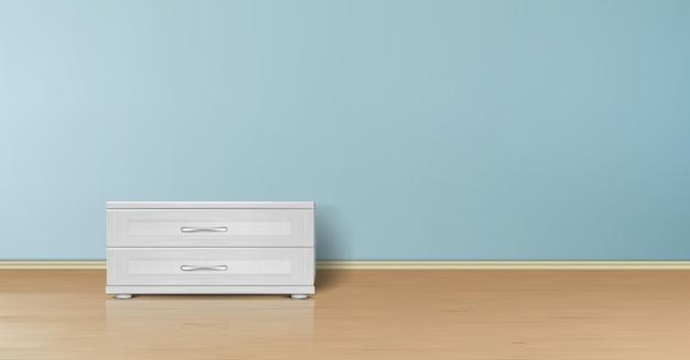 Realistisch mockup van lege ruimte met vlakke blauwe muur, houten vloer en tribune met laden. Gratis Vector