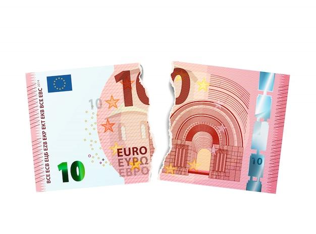 Realistisch model van bankbiljet van tien euro dat in twee stukken op wit wordt gescheurd Premium Vector