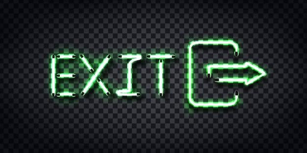 Realistisch neonteken van exit-logo voor sjabloondecoratie en bedekking op de transparante achtergrond. Premium Vector