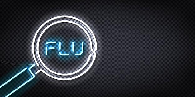 Realistisch neonteken van het grieplogo Premium Vector