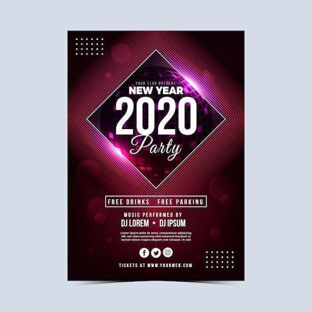 Realistisch nieuw jaar 2020 feest flyer sjabloon Gratis Vector