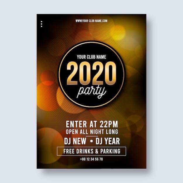 Realistisch nieuw jaar 2020 feest poster sjabloon Gratis Vector