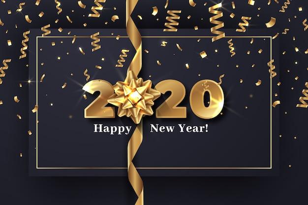 Realistisch nieuw jaar 2020 met cadeau boog behang concept Gratis Vector