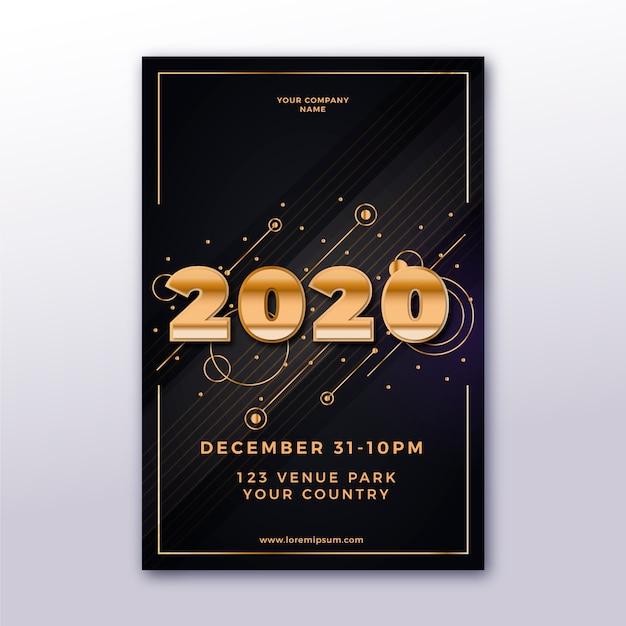 Realistisch nieuw jaar 2020 poster sjabloon Gratis Vector