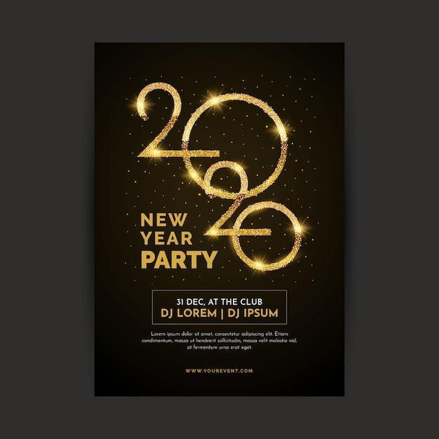 Realistisch nieuwjaarsjabloon poster Gratis Vector